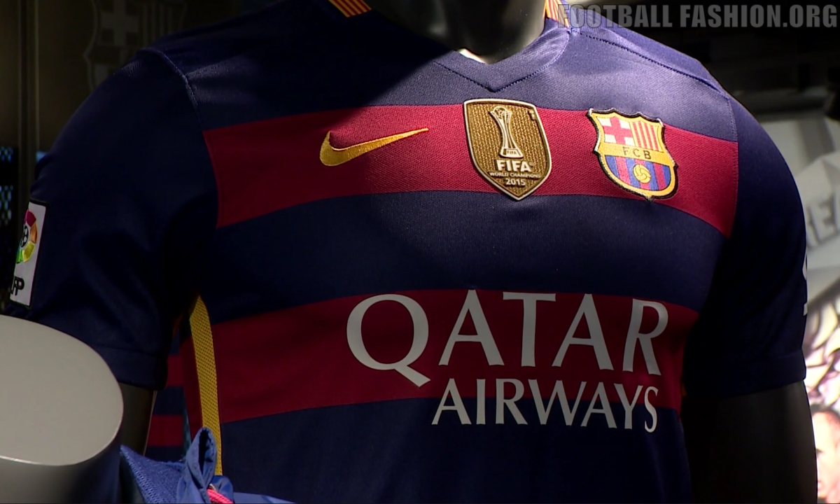 FC Barcelona Add FIFA World Champions Patch to 2015 2016 Nike Football Kit,  Soccer Jersey