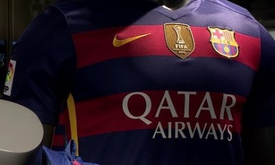 FC Barcelona Add FIFA World Champions Patch to 2015 2016 Nike Football Kit, Soccer Jersey, Shirt, Camiseta de Futbol, Equipacion Campeones Mundial