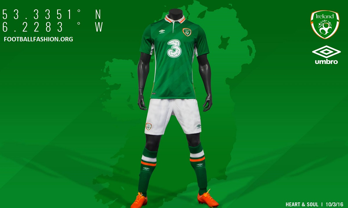 740f12886af Republic of Ireland EURO 2016 Umbro Home Football Kit, Soccer Jersey, 2017  Shirt