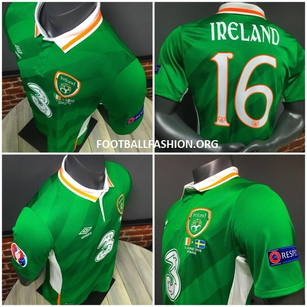 03a9bc879 Republic of Ireland EURO 2016 Umbro Home Kit - FOOTBALL FASHION.ORG