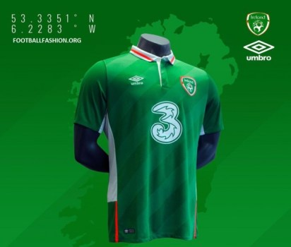 Republic of Ireland EURO 2016 Umbro Home Football Kit, Soccer Jersey, 2017 Shirt