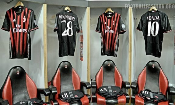 AC Milan 2016 2017 Red and Black adidas Home Football Kit, Soccer Jersey, Shirt, Gara. Maglia, Camiseta, Maillot