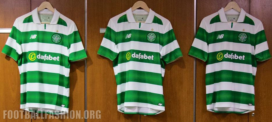 Celtic FC 2016 2017 New Balance Green and White Hooped Football Kit 0b271b963