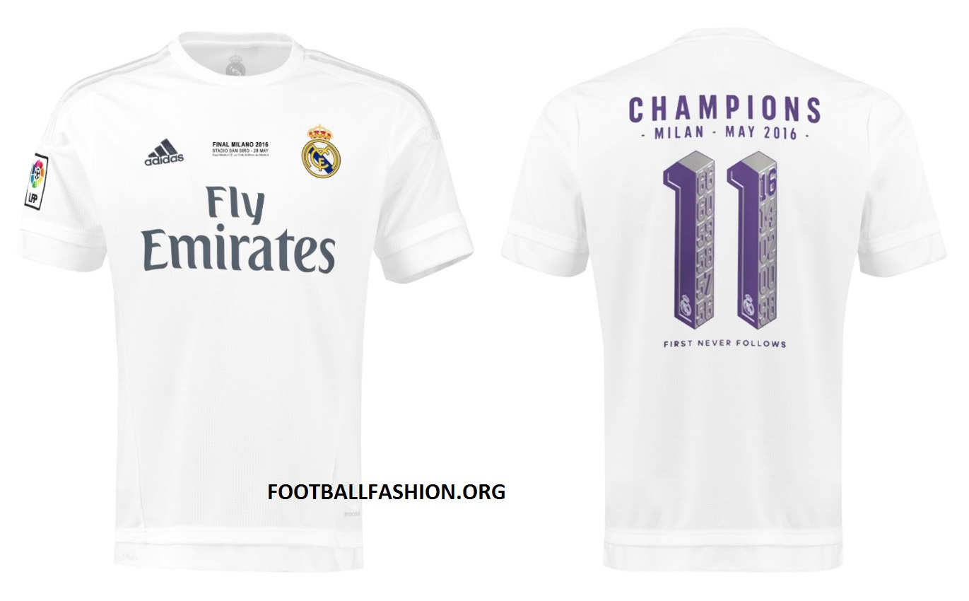 ba79229e2 Real Madrid 2016 UEFA Champions League adidas Winners Shirts ...