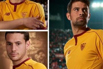 Sevilla FC 2016 2017 New Balance Yellow Third Football Kit, Soccer Jersey, Shirt, Camiseta de Futbol Amarilla, Equipacion de Europa