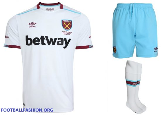 West Ham United 2016 2017 Umbro White Away Football Kit, Soccer Jersey, Shirt, Maillot