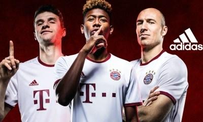 FC Bayern München 2016 2017 adidas White Third Football Kit, Soccer Jersey, Shirt, Trikot Champions League
