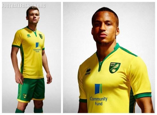 Norwich City FC 2016/17 Errea Home Kit - FOOTBALL FASHION.ORG