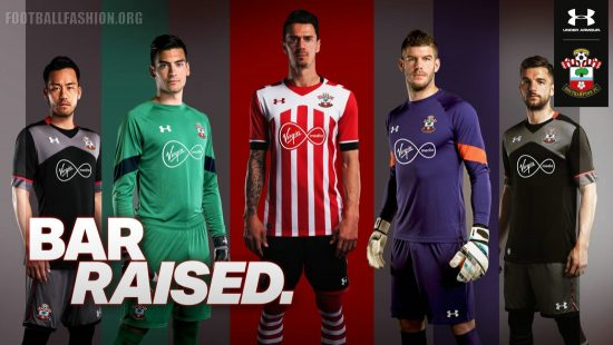 Southampton FC 2016 2017 Under Armour Home and Away Football Kit, Soccer Jersey, Shirt