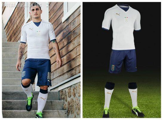 Italy 2016 2017 PUMA White Away Football Kit, Soccer Jersey, Shirt, Gara, Maglia, Camiseta