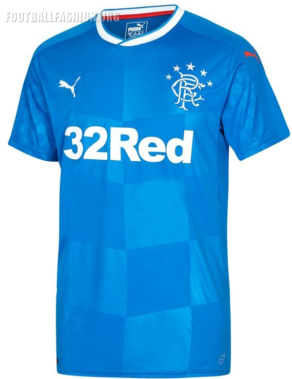 44fe0b95 The Rangers 16/17 PUMA home kit is inspired by their 1988/89 double-winning  shirt. The jersey has a definite 1980s feel about its through its  overlapping ...