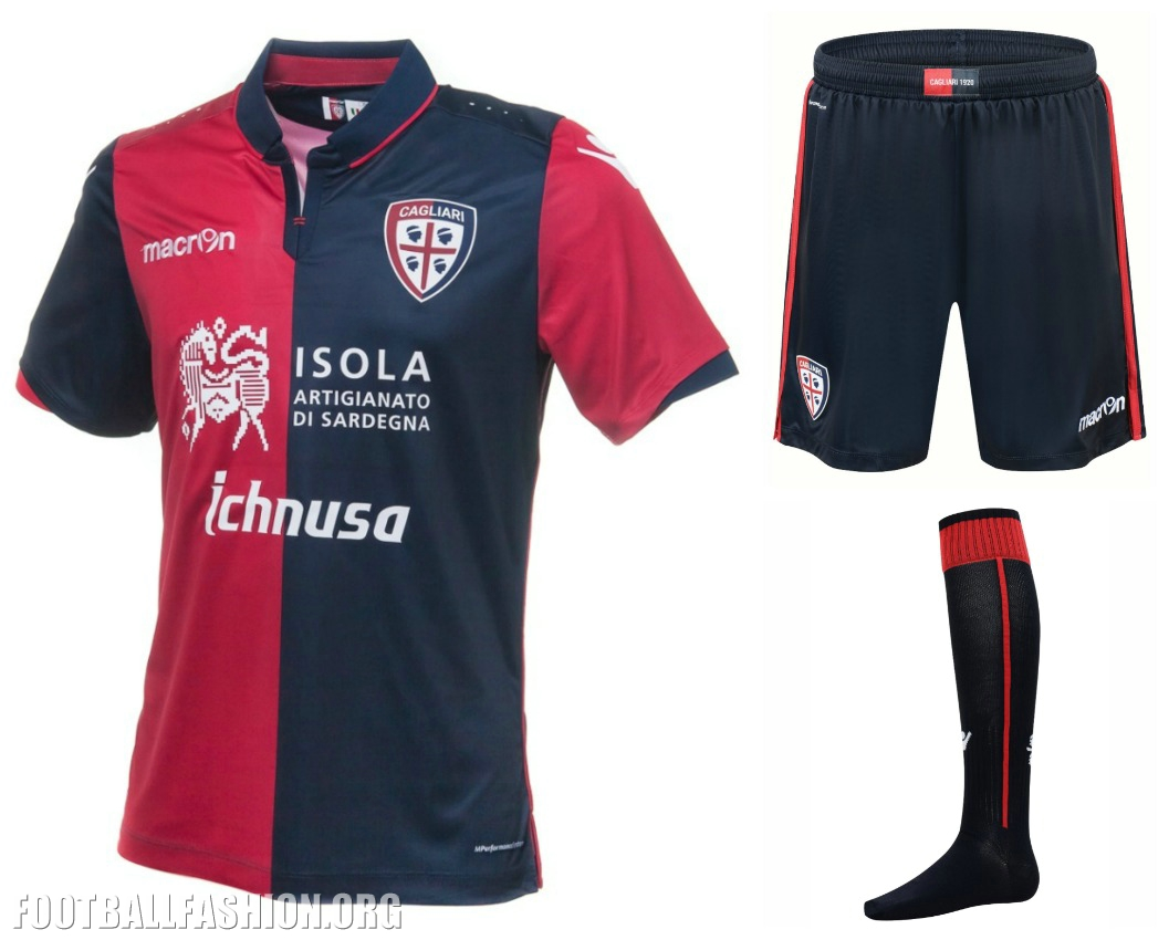 Cagliari Calcio 201617 Macron Home, Away and Third Kits