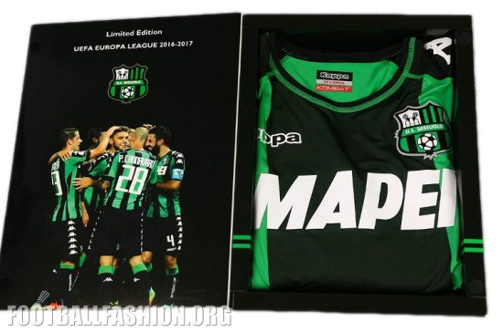 Sassuolo Calcio 2016 2017 Kappa Europa League Home Football Kit, Soccer Jersey, Shirt, Gara, Maglia
