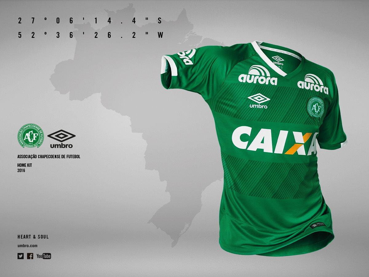 25b02d7b2ef Chapecoense 2016 2017 Umbro Home, Away and Third Football Kit, Soccer Jersey,  Shirt
