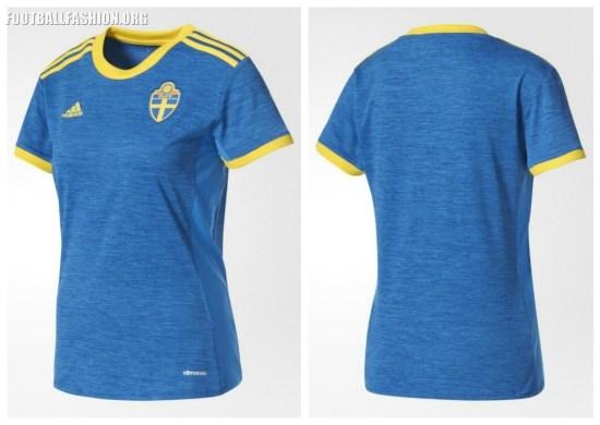 Sweden Women's EURO 2017 adidas Home and Away Football Kit, Soccer Jersey, Shirt, Hemmatröja, Sverige Tröja