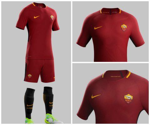 AS Roma 2017 2018 Nike Home Football Kit, Soccer Jersey, Shirt, Gara, Maglia