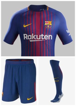 FC Barcelona 2017 2018 Nike Home Football Kit, Soccer Jersey, Shirt, Camiseta, Equipacion, Camisa, Maillot, Trikot, Tenue