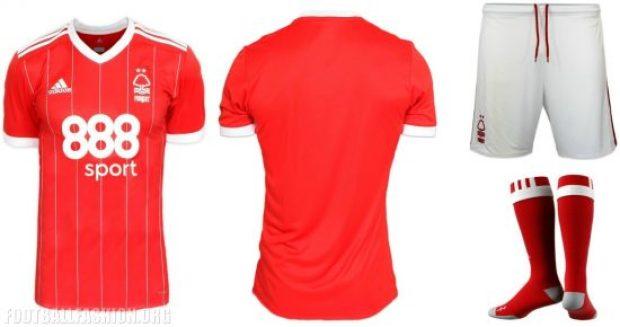 Nottingham Forest FC 2017 2018 adidas Home Football Kit, Soccer Jersey, Shirt