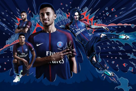 Paris Saint-Germain 2017 2018 Nike Home Football Kit, Soccer Jersey, Shirt