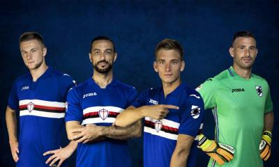 Sampdoria 2017 2018 Joma Home Football Kit, Soccer Jersey, Shirt, Maglia, Gara