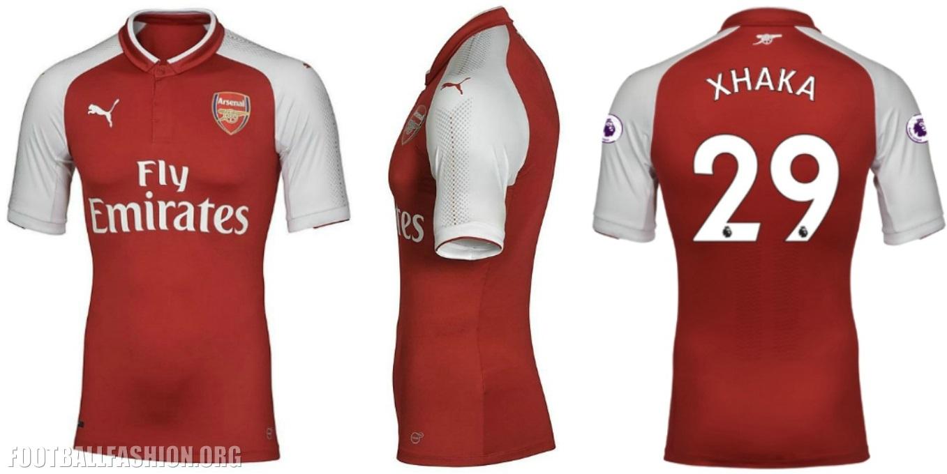 new arrival f0ab0 b9cee Arsenal FC 2017/18 PUMA Home Kit - FOOTBALL FASHION.ORG