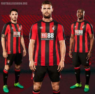 AFC Bournemouth 2017 2018 Umbro Home Football Kit, Soccer Jersey, Shirt, Camiseta, Maillot