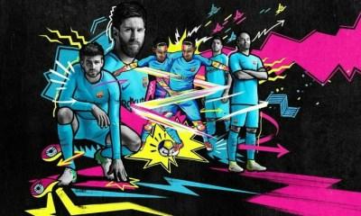 FC Barcelona 2017 2018 Nike Away Football Kit, Soccer Jersey, Shirt, Camiseta, Equipacion, Camisa, Maillot, Trikot, Tenue
