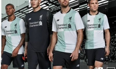 Liverpool FC 125th Anniversary 2017 2018 New Balance White Away Football Kit, Soccer Jersey, Shirt, Camiseta de Futbol, Camisa, Maillot, Trikot, Tenue