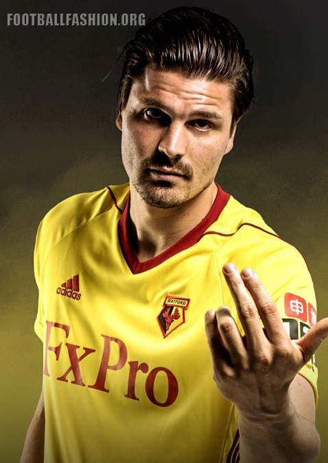 7420c04f1 The Watford FC 2017 18 home kit uses adidas  increasingly common Tiro 17  jersey design. It is in the club s traditional yellow with only red  accenting.