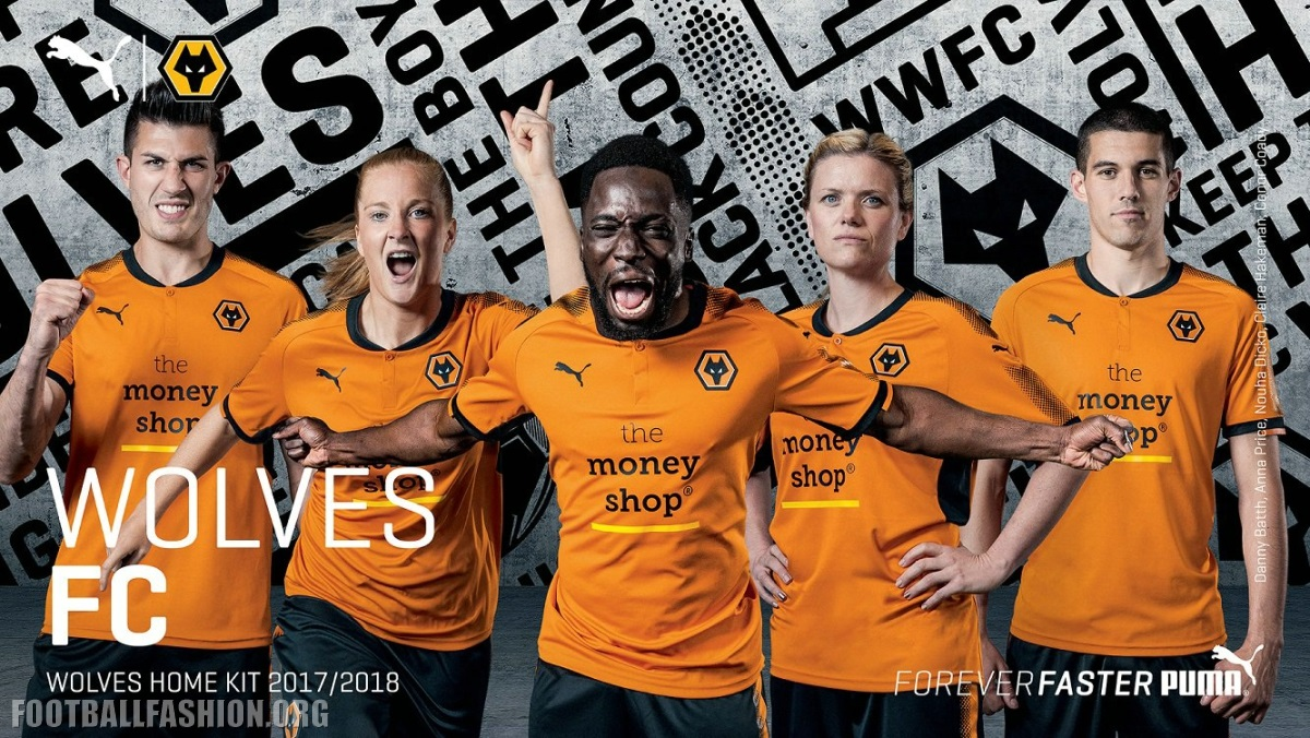 68ff8dc1670 Wolverhampton Wanderers FC 2017 18 PUMA Home Kit - FOOTBALL FASHION.ORG
