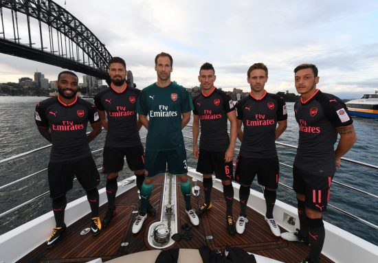 Arsenal FC 2017 2018 PUMA Black Pink Third Football Kit, Soccer Jersey, Shirt, Maillot, Camiseta, Camisa, Trikot, Tenue, Equipacion