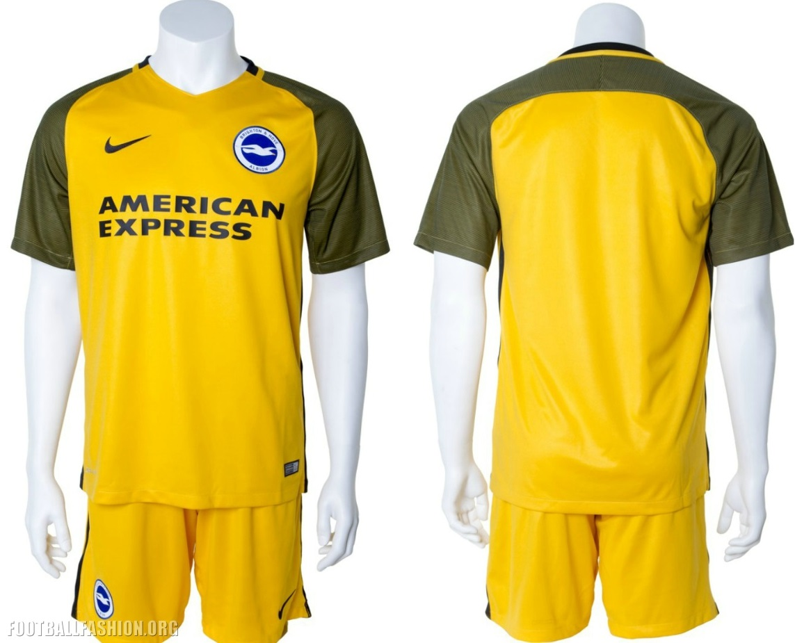 00a3001532e Brighton and Hove Albion 2017 2018 Nike Yellow Away Premier League Football  Kit