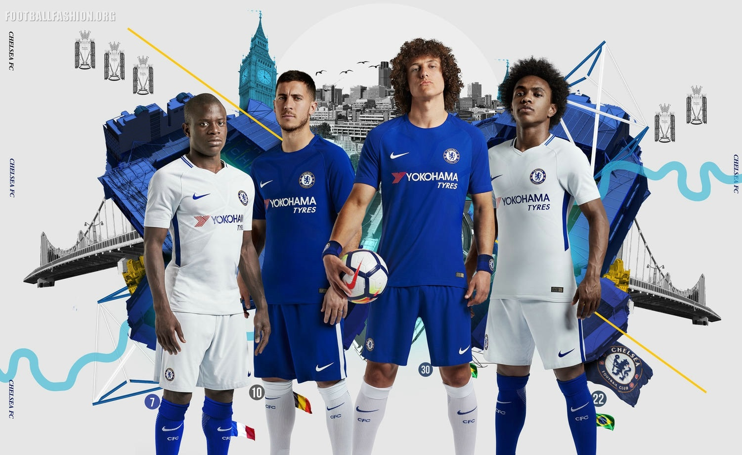 Chelsea FC 2017 2018 Nike Home and Away Football Kit, Soccer Jersey, Shirt,