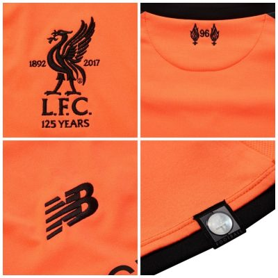 Liverpool FC 125th Anniversary 2017 2018 New Balance Otange Third Football Kit, Soccer Jersey, Shirt, Camiseta de Futbol, Camisa, Maillot, Trikot, Tenue