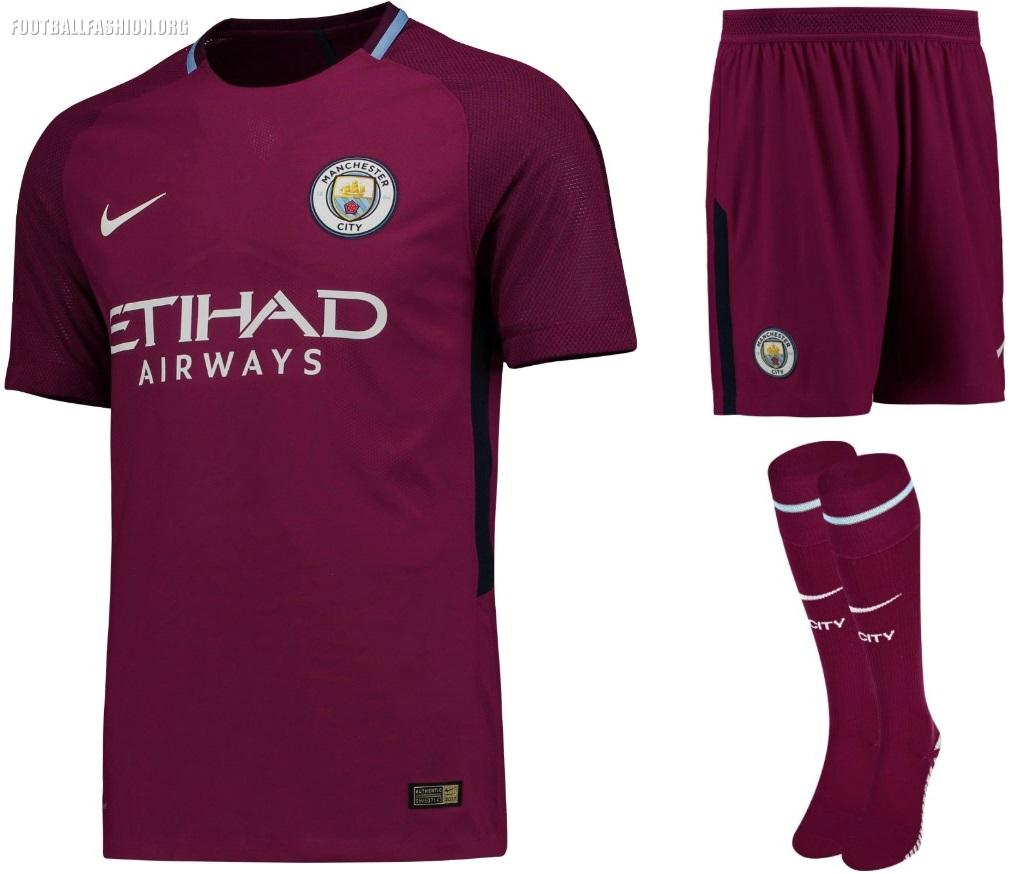 Manchester City FC 2017 2018 Maroon Nike Away Football Kit, Shirt, Soccer  Jersey,