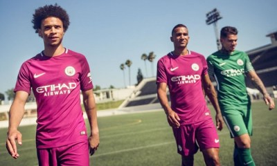 Manchester City FC 2017 2018 Maroon Nike Away Football Kit, Shirt, Soccer Jersey, Maillot, Camiseta, Camisa, Trikot, Tenue