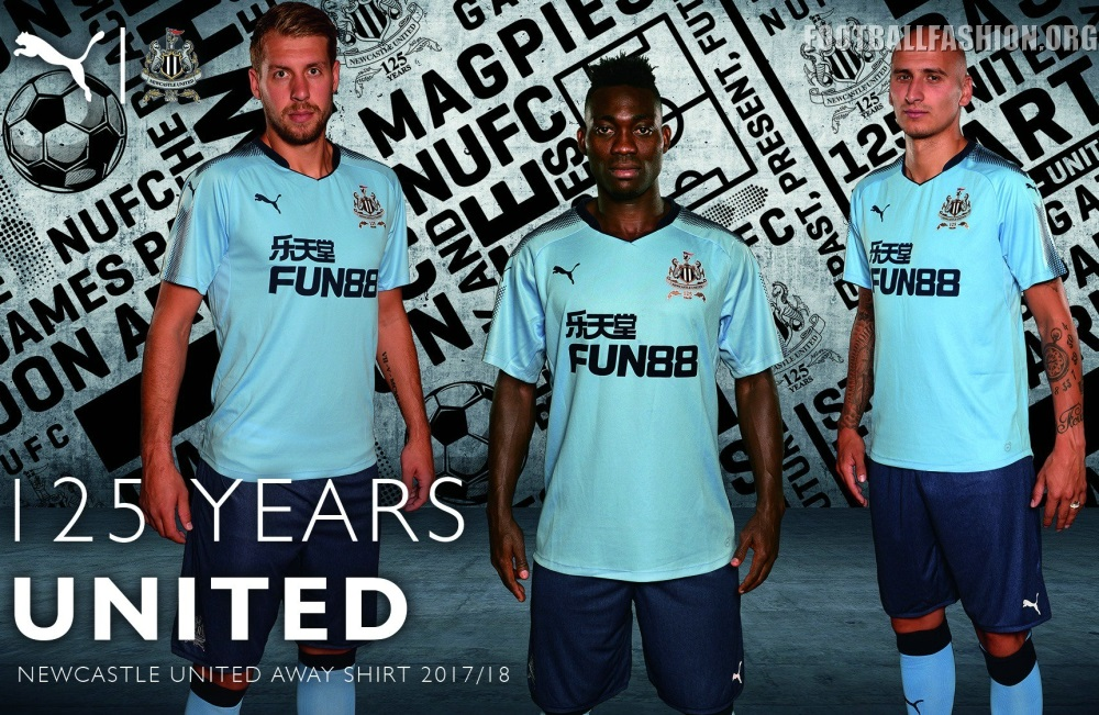 Newcastle United 2017 2018 125th Anniversary PUMA Blue Away Football Kit a5e915064ede5