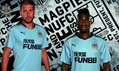 Newcastle United 2017 2018 125th Anniversary PUMA Blue Away Football Kit, Soccer Jersey, Shirt, Maillot, Camiseta, Trikot