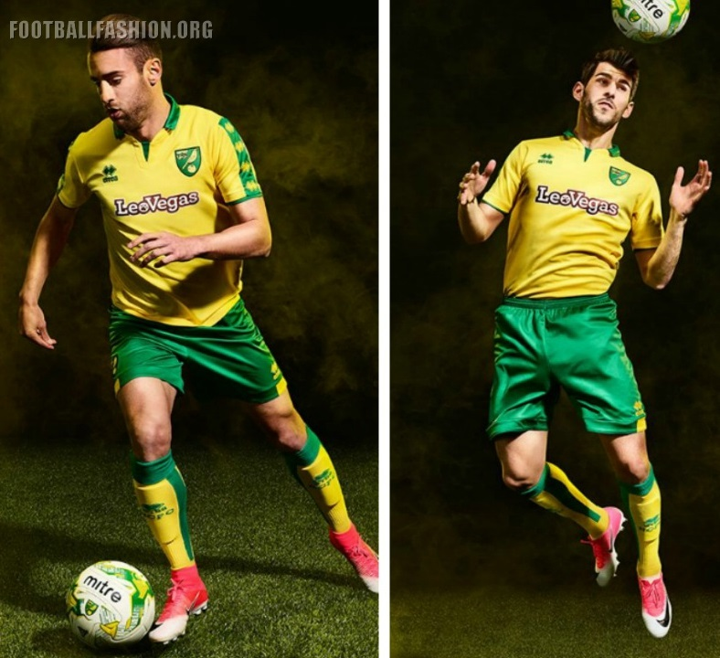 Norwich City 2017/18 Errea Home and Away Kits – FOOTBALL ...