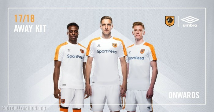 Hull City AFC 2017 2018 Umbro White Away Football Kit, Soccer Jersey, Shirt