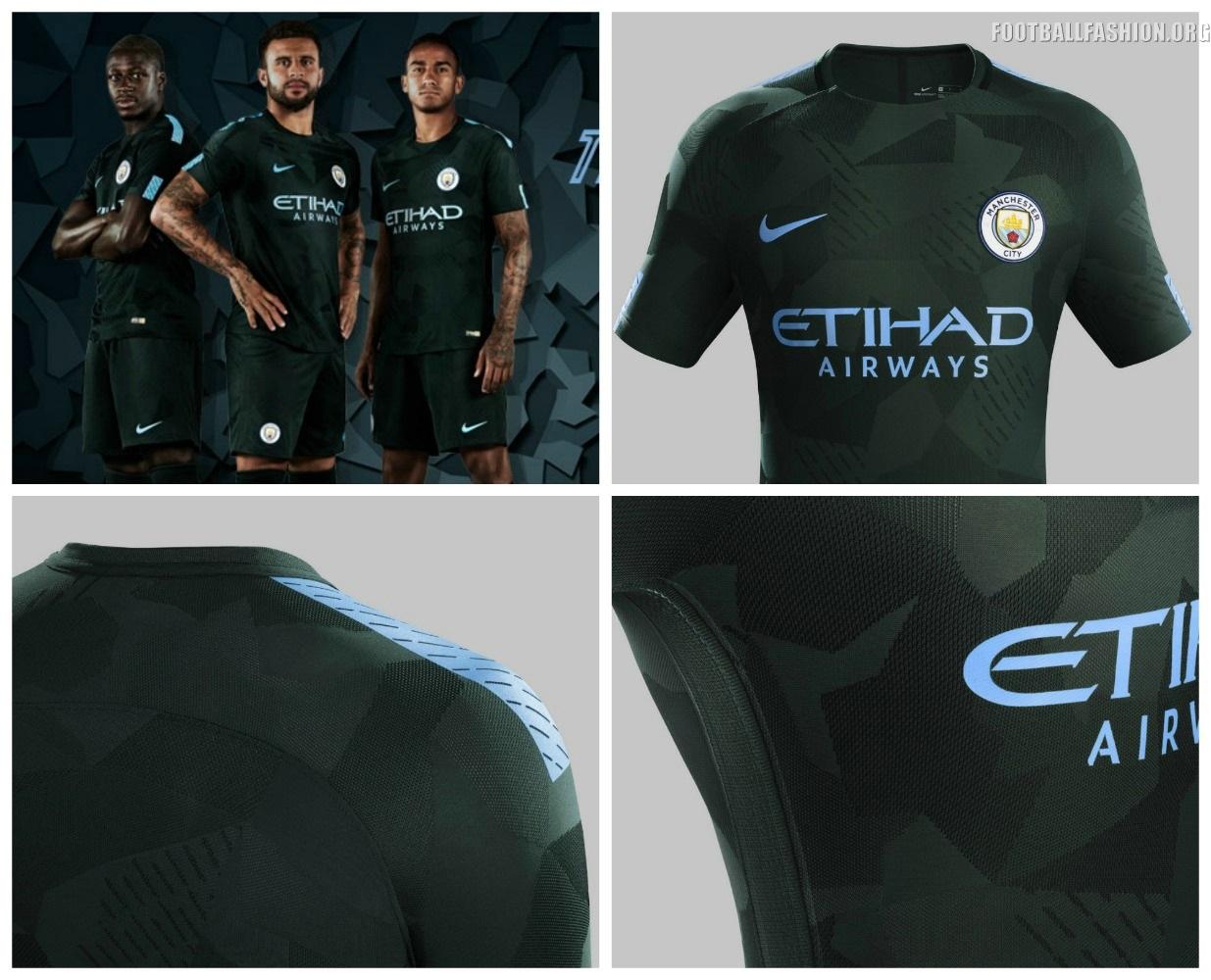 Manchester City FC 2017 2018 Dark Green Nike Third Football Kit, Shirt,  Soccer Jersey