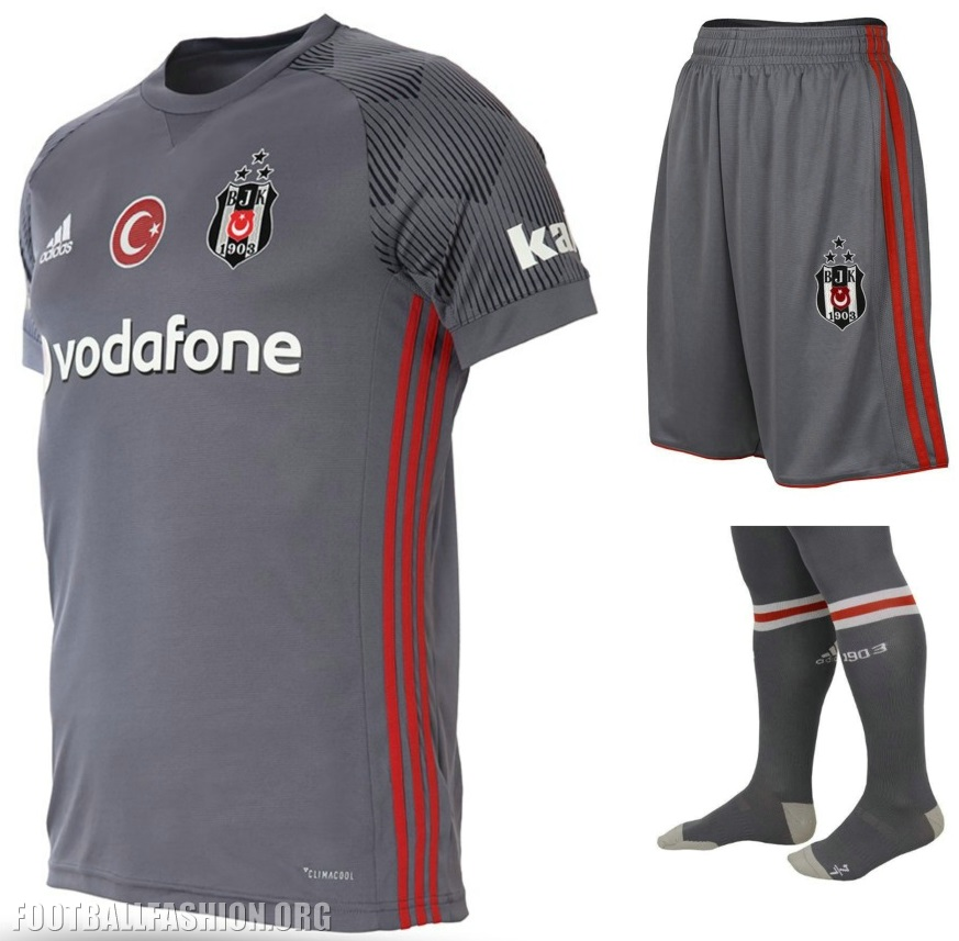 6390bf3e4 Beşiktaş s new third kit is gray with red adidas stripes on its sides. The  jersey uses a new rounded neck adidas design. The sleeves and shoulders  have the ...