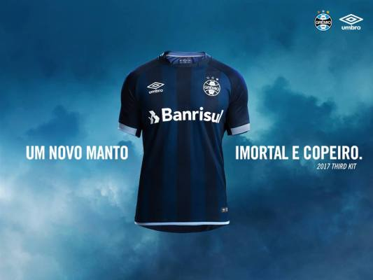 Grêmio 2017 2018 Umbro Third Football Kit, Soccer Jersey, Shirt, Camisa III