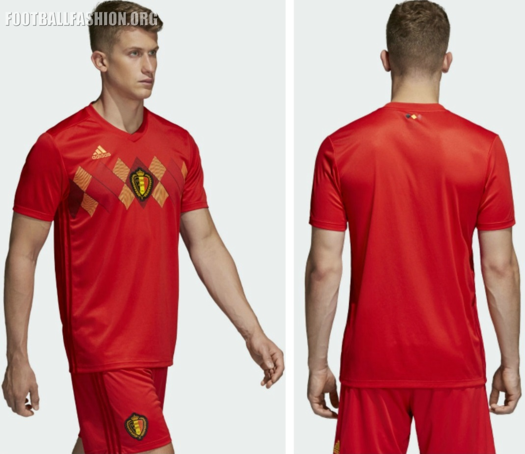 b9fbbb90dbf The Belgium 2018 adidas home kit takes its design inspiration from the  primary jersey worn by the Belgians at EURO 1994. The all red shirt  featured a ...