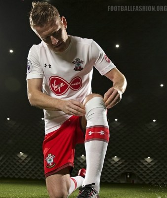 Southampton FC 2017 2018 Under Armour White Third Football Kit, Soccer Jersey, Shirt, Camiseta, Maillot, Trikot, Camisa