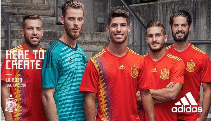 634f9704e26 Spain 2018 World Cup adidas Home Football Kit, Soccer Jersey, Shirt,  Camiseta,