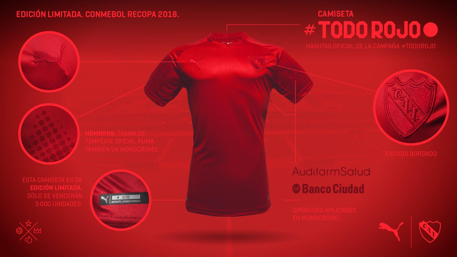 a191b9fca8c Club Atlético Independiente 2018 Recopa Sudamericana All Red PUMA Football  Kit, Soccer Jersey, Shirt