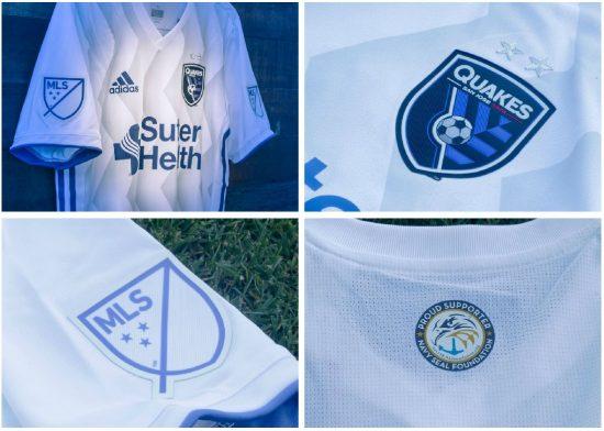 San Jose Earthquakes 2018 2019 adidas MLS White Away Soccer Jersey, Shirt, Football Kit, Camiseta de Futbol