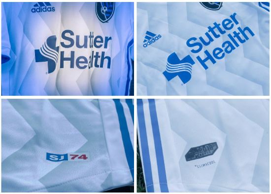 San Jose Earthquakes 2018 2019 adidas MLS White Away Soccer Jersey, Shirt, Football Kit, Camiseta de Futbol