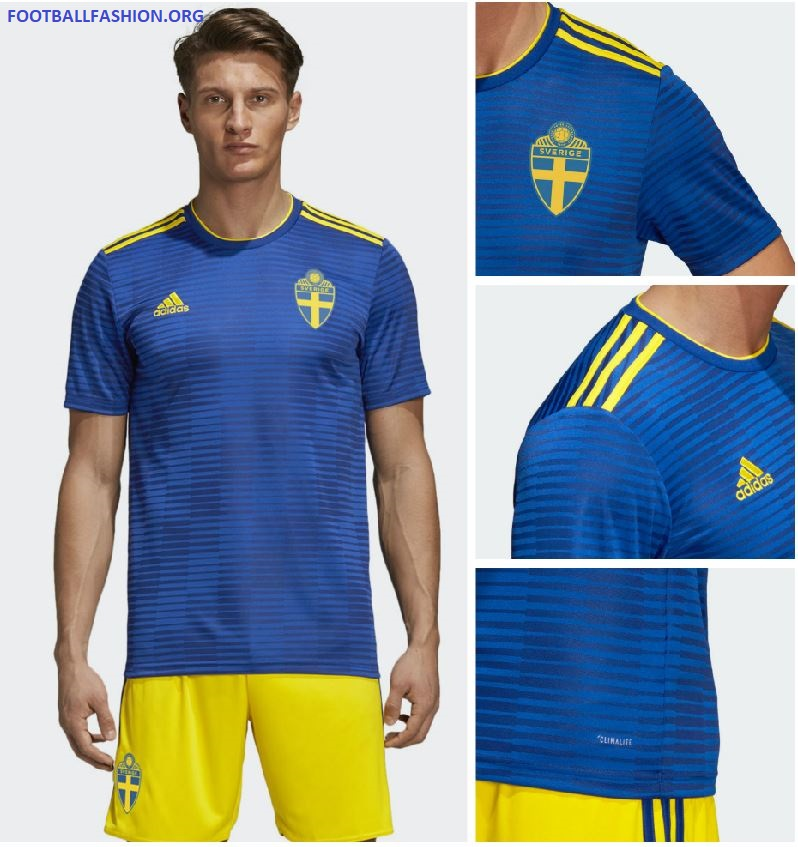 """ac814b1ed5b The jersey is A fresh take on the famous blue shirts that the Swede's have  worn throughout their footballing history. A""""Sverige"""" graphic is displayed  on the ..."""